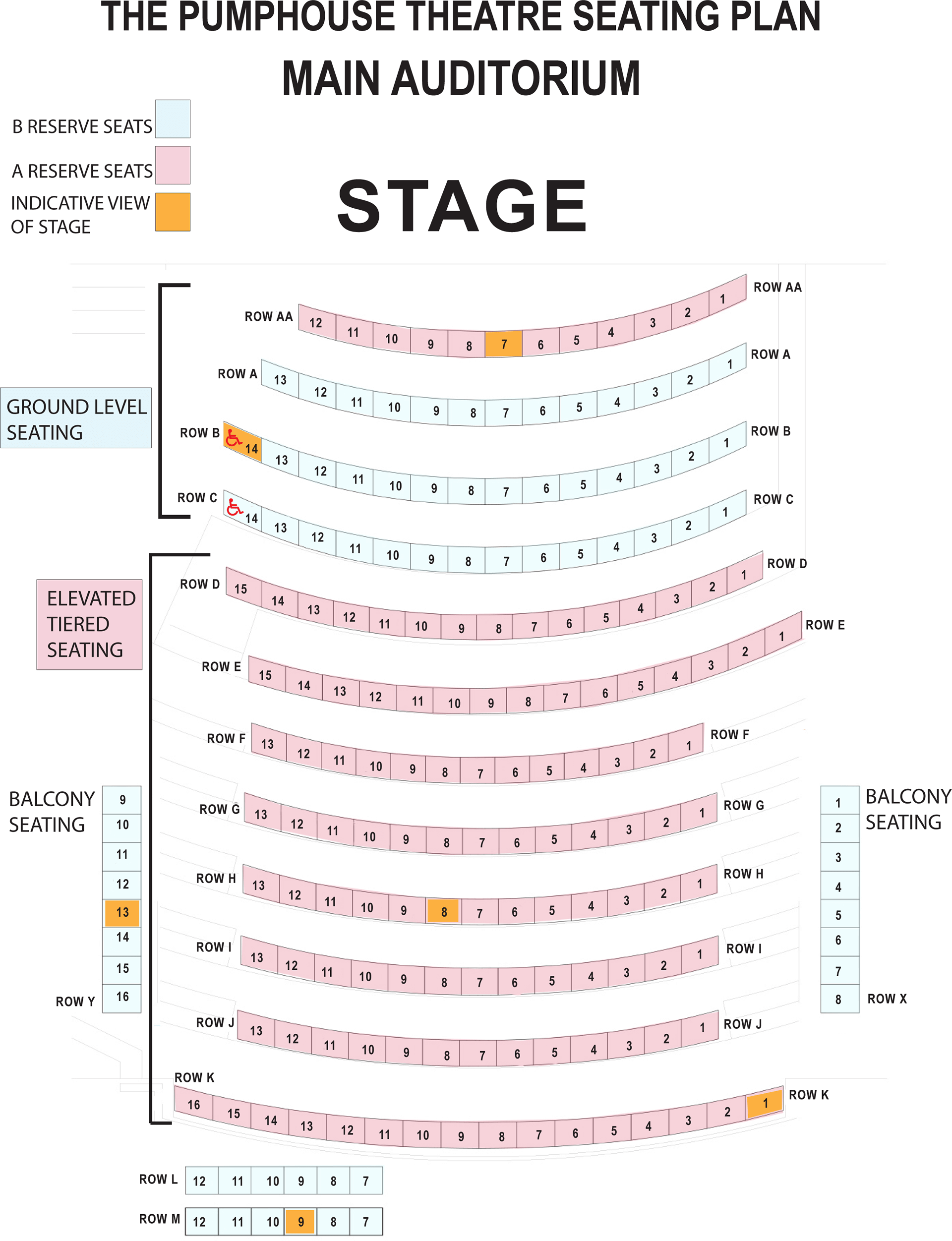 The PumpHouse Theatre seating plan